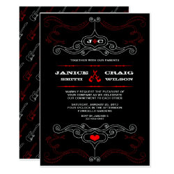 Red & Black Rock 'n' Roll Music Themed Wedding Card