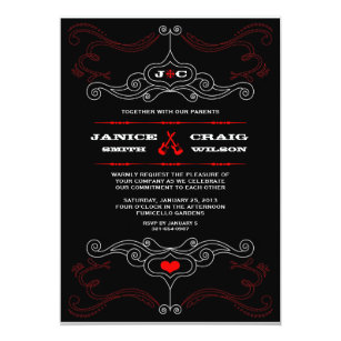 Red Black Rock N Roll Music Themed Wedding Card