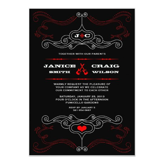 Red Black Rock N Roll Music Themed Wedding Invitation