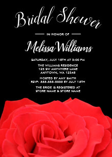 red black rose bridal shower invitations