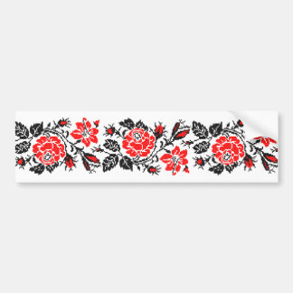 Red&Black Rose cross-stitch Russian Pattern Bumper Sticker
