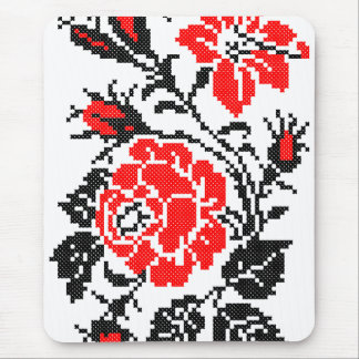 Red&Black Rose cross-stitch Russian Pattern Mouse Pad