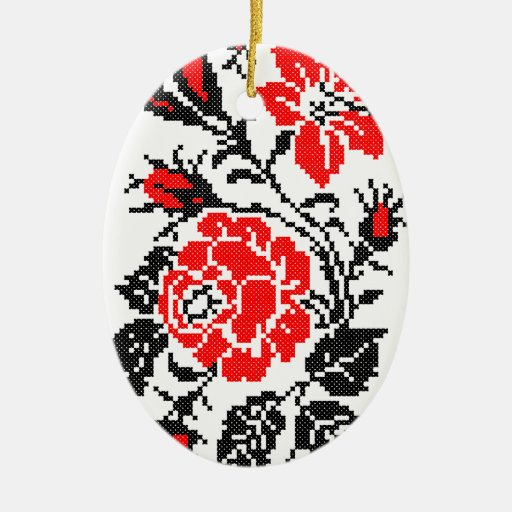 Red&Black Rose cross-stitch Russian Pattern Double-Sided Oval Ceramic Christmas Ornament