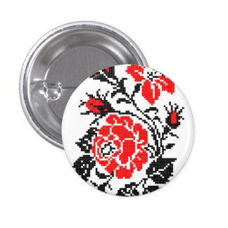 Red&Black Rose cross-stitch Russian Pattern Pinback Button
