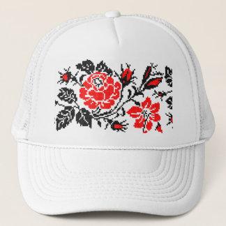 Red&Black Rose cross-stitch Russian Pattern Trucker Hat