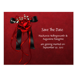 Red & Black Roses Ribbon Save The Date Post Card