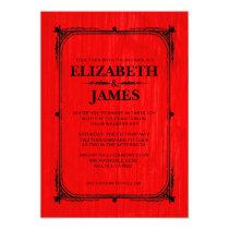 Red & Black Rustic Barn Wood Wedding Invitations
