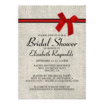 Red Black Rustic Burlap Bridal Shower Invitations Card