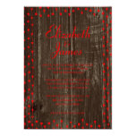 Red Black Rustic Country Wood Wedding Invitations Personalized Invites