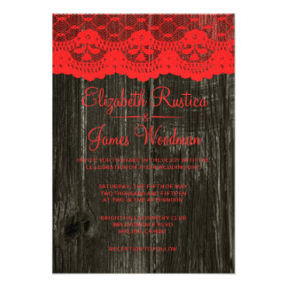 Red Black Rustic Lace Wood Wedding Invitations Custom Announcements