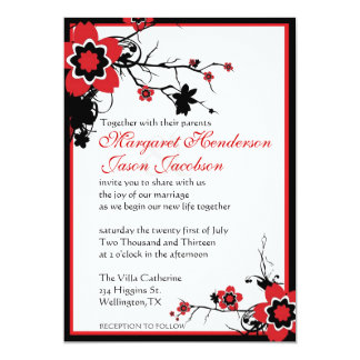 Red & Black Sakura Cherry Blossoms Wedding Invite