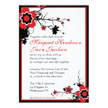 "Red & Black Sakura Cherry Blossoms Wedding Invite 5"" X 7"" Invitation Card"