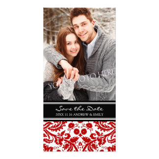 Red Black Save the Date Wedding Photo Cards