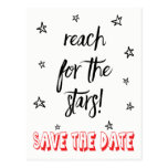 Red & Black Save the Date Wedding Stars Love Quote Postcard