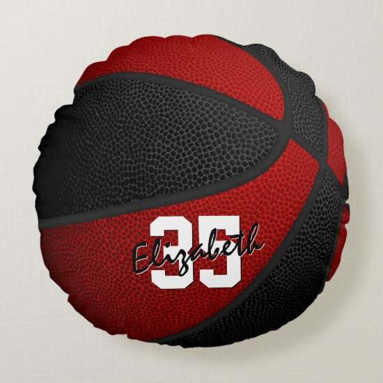red black school colors her his basketball decor round pillow