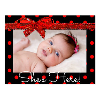 """Red Black  """"She's Here""""  Birth Announcement Postcard"""