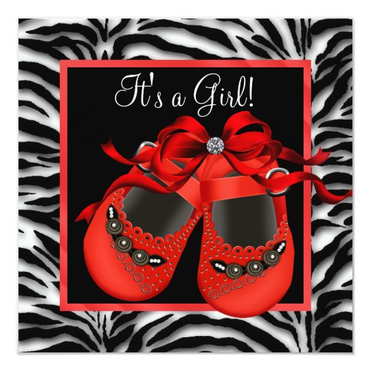 Red Black Shoes Red Zebra Baby Girl Shower Card