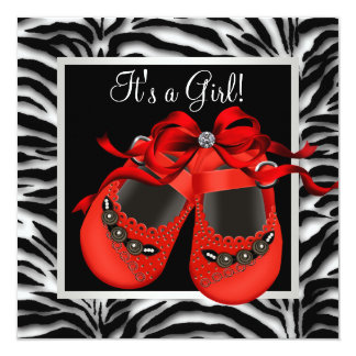 Red Black Shoes Red Zebra Baby Girl Shower 5.25x5.25 Square Paper Invitation Card