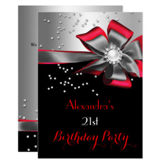 Red Black Silver Bow Pearl Birthday Party Card