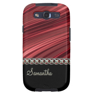 Red, black, silver chain, monogram galaxy s3 cases