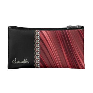 Red, black, silver chain, monogram cosmetic bag