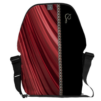 Red, black, silver chain, monogram courier bag