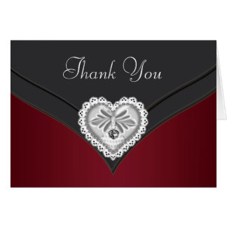 Red Black Silver Diamond Heart Thank You Cards