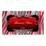 Red Black Silver Diamond Hearts Zebra Business Double-Sided Standard Business Cards (Pack Of 100)