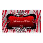 Red Black Silver Diamond Hearts Zebra Business Business Card