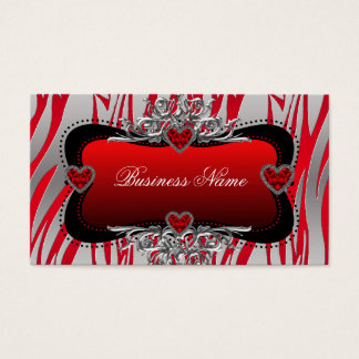 Red Black Silver Diamond Hearts Zebra Business Business Card