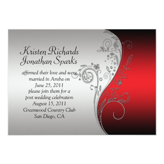 Red Black Silver Floral Swirls Post Wedding Invitation