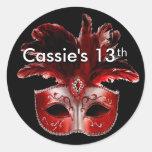 Red, Black & Silver Masquerade Party Sticker