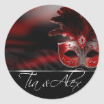 Red Black & Silver Masquerade Party Sticker