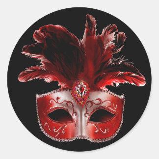 Red Black & Silver Masquerade Party Sticker