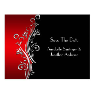 Red Black Silver Swirls Save The Date Postcard
