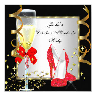 RED Black Silver Women's Birthday Party Invitation