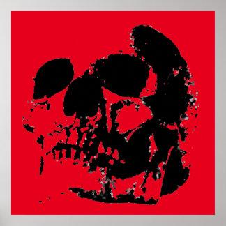 Red Black Skull Heavy Metal Fantasy Art Poster