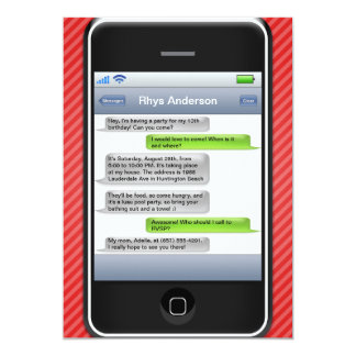 Red/Black Smart Phone iParty Birthday Party Card