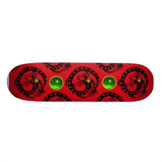 RED BLACK SNAKE  DRAGON ,Green Emerald Skate Boards
