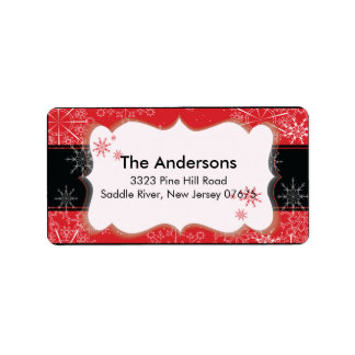 Red Black Snowflake Winter Holiday Return Address Address Label