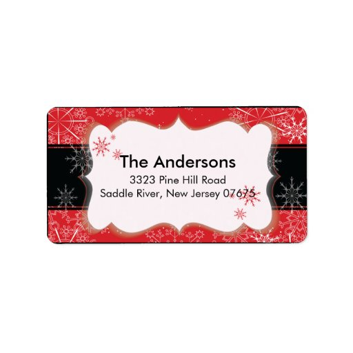 Red Black Snowflake Winter Holiday Return Address Address Label