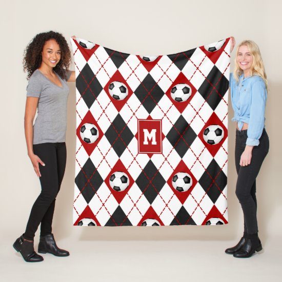 red black soccer team colors argyle pattern fleece blanket