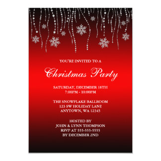 Red Black Sparkle Snowflakes Christmas Party 5x7 Paper Invitation Card