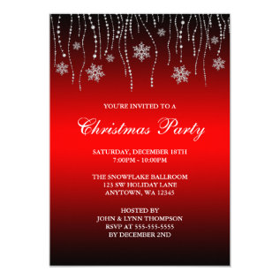 Red Black Sparkle Snowflakes Christmas Party Card at Zazzle