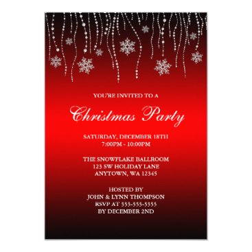 Professional Business Red Black Sparkle Snowflakes Christmas Party Card