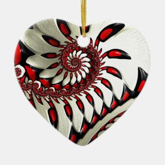 Red & Black Spiral Fractal Ceramic Ornament
