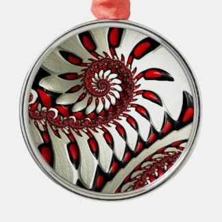 Red & Black Spiral Fractal Metal Ornament
