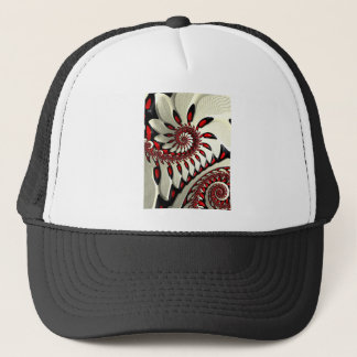 Red & Black Spiral Fractal Trucker Hat