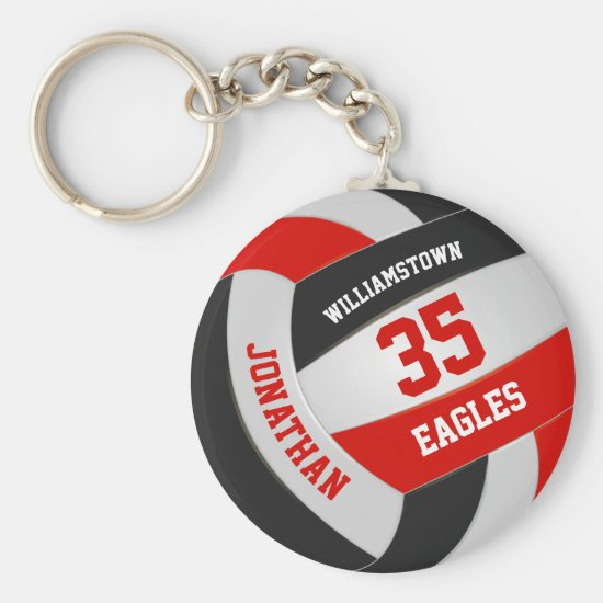 red black sports team colors boys girls volleyball keychain