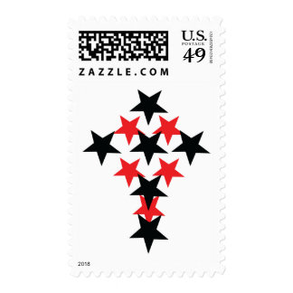 red-black star cross stamps